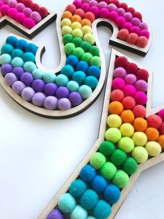 Spice up your studio with these cute rainbow letters!Each letter approx: High x width of whole word: Kids Decor, Diy Room Decor, Boy Decor, Nursery Decor, Diy Crafts For Kids, Fun Crafts, Kindergarten Classroom Decor, Rainbow Decorations, Playroom