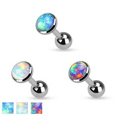 Opal Set Flat Top 316L Surgical Steel Cartilage Tragus Barbell Body Jewelry