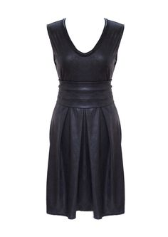 Little Black Dress Plus Size Faux Leather Pleated by tamarziv, $120.00