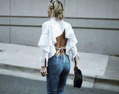 fashion, open back, and ruffles image