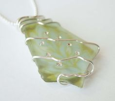 wire wrapped recycled glass pendant. Black Aspen Leaf Necklace, Recycled Glass Pendant, Nature Jewelry | Leaf, And Pendants Wire Wrapped Pendant