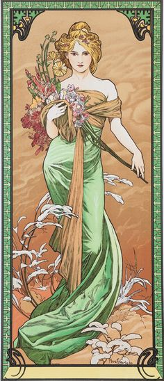 The Seasons: Spring, 1900 Alphonse Mucha Art Nouveau Poster Living Room Wall Decor Pictures Home Wall Painting Art Nouveau Pintura, Art Nouveau Mucha, Art Nouveau Tattoo, Alphonse Mucha Art, Art Nouveau Poster, Poster Art, Retro Poster, Kunst Poster, Art Posters