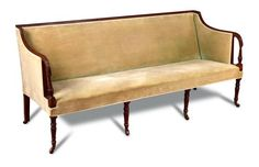 Sale D101215 Lot 573  An 18th century mahogany square back sofa, with reeded show wood and open arms, on reeded legs and casters h:87 w:191 d:74 cm  - Cheffins