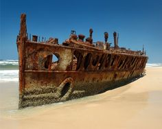 Rusted ship's skeleton