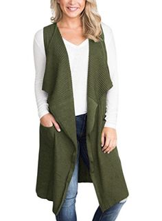 92ea88aa09f397 New Sidefeel Women Sleeveless Open Front Knitted Long Cardigan Sweater Vest  Pocket online shopping