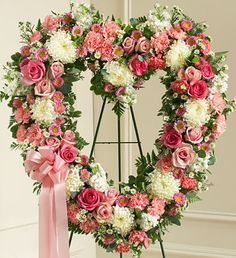 Order Always Remember Pink Floral Heart Tribute flower arrangements from All Flowered Up Too, your local Lubbock, TX florist. Send Always Remember Pink Floral Heart Tribute floral arrangement throughout Lubbock and surrounding areas. Funeral Floral Arrangements, Beautiful Flower Arrangements, Beautiful Flowers, Church Flowers, Funeral Flowers, Wedding Flowers, Pink Wreath, Floral Wreath, Casket Flowers