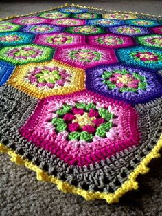 """Items similar to BabyLove Brand """"Backyard Bouquet"""" Floral Patchwork Blanket, color for patio/toddler/baby shower lapghan on Etsy Hexagon Crochet Pattern, Crochet Squares, Crochet Motif, Crochet Stitches, Crochet Afghans, Crochet Quilt, Crochet Crafts, Crochet Projects, Baby Knitting Patterns"""