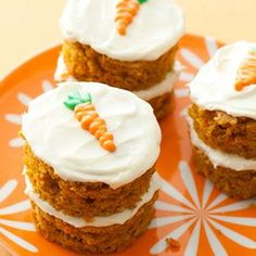 "Mini-Carrot Cakes - Woman's Day  -- Cut from larger sheet cake.  Could use the remainder and crumble it for Dessert Shooters or Parfaits.  Perfect for my ""mini dessert"" spread for Thanksgiving."