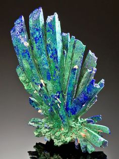 Azurite crystals changing to malachite. /  Mineral Friends <3
