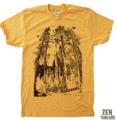 Mens California REDWOODS TShirt american apparel  S by ZenThreads, $18.00