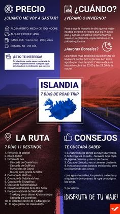 Iceland infographics- Infografía Islandia If your next trip is to Iceland and you don& know what to see, here is a brief infographic with things that will help you get your bearings. Travel Goals, Travel Advice, Travel Guides, Travel Tips, Zucchini Muffins, Travelling Tips, Traveling, Iceland Travel, Geography