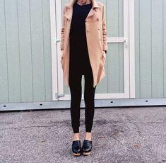 Black + brown / coat / clogs #ClogsShoesWinter #ClogsShoesOutfit