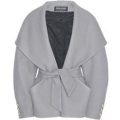 Balmain Wool and Cashmere Jacket ($2,190) ❤ liked on Polyvore featuring outerwear, jackets, coats, coats & jackets, balmain, grey, gray wool jacket, balmain jacket, gray jacket and grey jacket