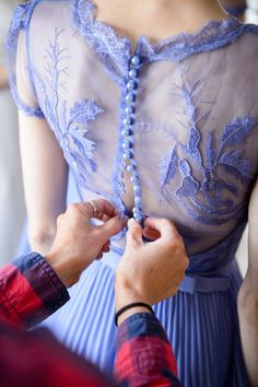 purple / lilac / lavender bridesmaid gown with button up lace back.