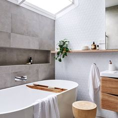 Real reno: This Melbourne overhaul is a riot of texture - The Interiors Addict - bathroom inspiration - Home Interior, Bathroom Interior, Modern Bathroom, Small Bathroom, Neutral Bathroom, Gray Bathrooms, Silver Bathroom, Minimal Bathroom, Modern Vanity