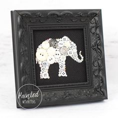 Custom White Elephant Framed Button Art by PaintedWithButtons