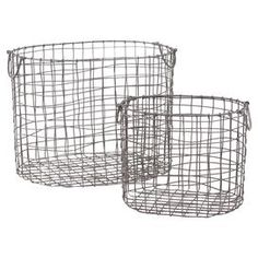 "Set of two metal wire baskets.   Product: Small and large basketConstruction Material: MetalColor: GrayDimensions: Small: 8.6"" H x 12"" W x 10.8"" DLarge: 12"" H x 15.75"" W x 12.2"" DCleaning and Care: Wipe with a damp cloth"