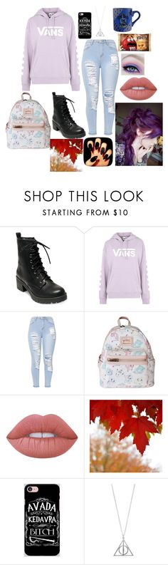 """Is it fall yet?"" by lonely-ravenclaw-girl ❤ liked on Polyvore featuring Madden Girl, Vans, Loungefly, Lime Crime and Samsung"