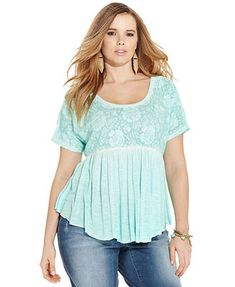 bb235198e0f911 Jessica Simpson Plus Size Short-Sleeve Lace Babydoll Top  59 Trendy Plus  Size Dresses