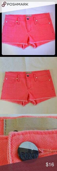 **SOLD** Roxy Jean Shorts Hot Pink Denim Cutoffs Up for sale is a pair of New without tags Roxy jean shorts in a cool Spring/ Summer Hot Pink with a hint of Coral color as well.  Item is new and never been worn but tags have been cut off. Size is Junior 5 or 27. Roxy Shorts Jean Shorts