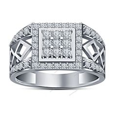 0.60Carat Round Diamond 925 Silver 14K White Gold Finish Men's Special Band Ring…