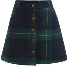 Green Blue Plaid Buttons Skirt found on Polyvore featuring polyvore, women's fashion, clothing, skirts, mini skirts, bottoms, green, tartan skirt, vintage skirts and green plaid mini skirt