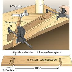 I love this trick. The pressure of the clamps forces the wood against the workpiece. A perfect 45 degree cut is key. l Lay it out and use your backsaw and coping saw just like dovetai pins.