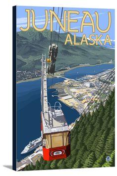 Canvas (Juneau, Alaska - Mt. Roberts Tram - Lantern Press Artwork)