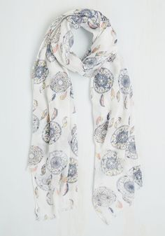A Girl Can Dream Scarf. With this white scarf draped over your neckline, you saunter down the sidewalk imagining a sea-spritzed breeze dancing past its subtly fringed ends. #multi #modcloth