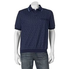 Big & Tall Safe Harbor Classic-Fit Banded-Bottom Polo, Blue (Navy)
