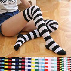 9ed391be6b2 Girl Women Cotton Sock Long Thigh High Striped Over the Knee Slim Leg  Stockings  fashion