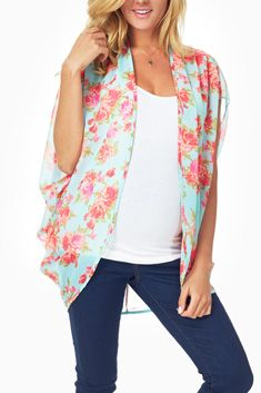 Mint Green Floral Printed Sheer Maternity Cardigan from Pink Blush!