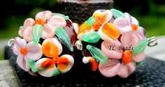 OH Mercy Handmade Lampwork Glass Floral Bead Set SRA by TLBeads, $16.00