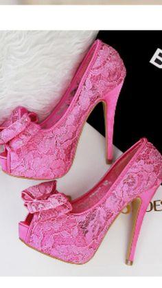 sexy cutout lace thick heels sandal high heel platform peep toe bowtie pink sandals sandalias de mujer shoes women's - alishoppbrasil Pink Wedges, Pink Sandals, Sexy Stiefel, Wedge Shoes, Shoes Heels, Neon Heels, Homecoming Shoes, Pink Wedding Shoes, Wedding Dress