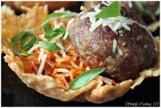 Stuffed Meatballs in a Parmesan Crisp Bowl