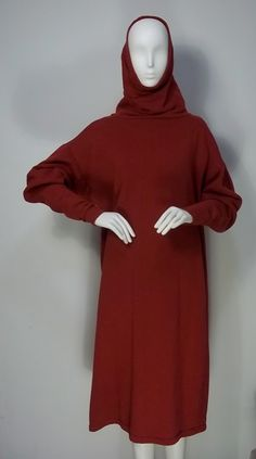 Vintage 1980's Norma Kamali fleece high-turtleneck or hooded dress. $80.00, via Etsy.    this - not in red- maybe black, everyday. every. day.