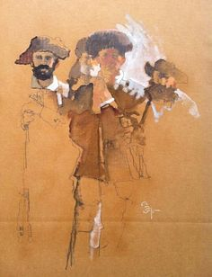 Bernie Fuchs, Militia mixed media on cardboard