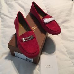 Host Pick,Coach Red Suede Loafers, 1 hour Sale Brand new with box and care instructions! Red suede, authentic loafers. Has gold buckles on shoe.  Never worn, one hour sale only then price goes back up!  Host Pick in Best in shoes and boots!!! Coach Shoes Flats & Loafers