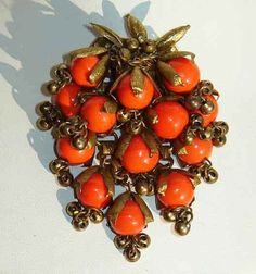 Vintage 20's Miriam Haskell Orange Beaded Fringe Brooch Pin
