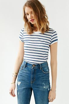 Monrow Striped Cropped Tee - Urban Outfitters