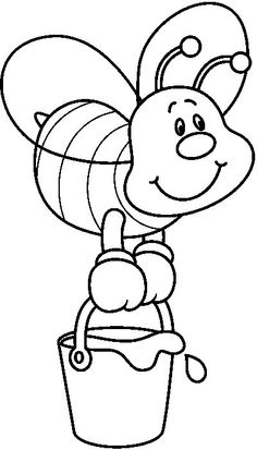 Distinctive and Inventive Results of the image for bee drawings Best Picture For stained glass Coloring Pages For Your Taste You are looking for something,. Easy Drawings Sketches, Art Drawings For Kids, Drawing For Kids, Cartoon Drawings, Bee Coloring Pages, Coloring Books, Bee Drawing, Bee Theme, Rock Art