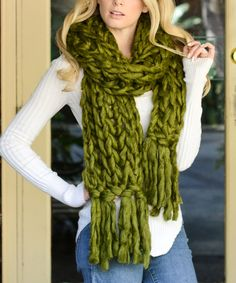 Look at this Leto Collection Olive Oversize Knit Scarf on #zulily today!