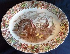 VINTAGE Ironstone Transferware TURKEY Platter Made in ENGLAND Leaves & Berries | eBay