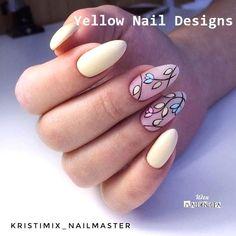 23 Great Yellow Nail Art Designs 2019 #yellownaildesign #nails Yellow Nails Design, Yellow Nail Art, Tulip Nails, Flower Nails, Bright Nails, Red Nails, Cute Nails, Pretty Nails, Nail Art Hacks