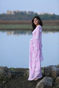 Lilac Pure Silk Georgette Ribbon-Work Saree by EASTANDGRACE