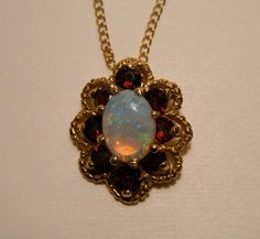 Opal Garnet 14k Gold Vintage Pendant Necklace on Etsy, $125.00 October Birth Stone, Birthstones, Garnet, Opal, Pendant Necklace, Trending Outfits, Unique Jewelry, Handmade Gifts, Gold