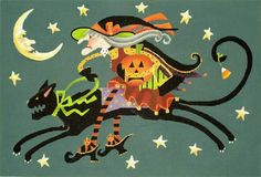 Melissa Shirley Designs | Hand Painted Needlepoint | Crabby Cat Witch, 13 mesh (15x10)