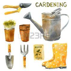 Hand drawn watercolor gardening set