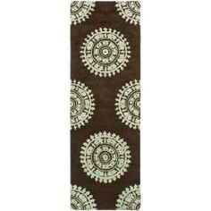 Handmade Soho Chrono Brown/ Teal New Zealand Wool Runner (2'6 x 12')  HALLWAY