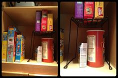 Use back to school clearance items to organize at home!  Wire locker shelf in your kitchen cupboard to maximize space.